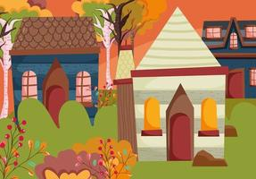 Cute houses on Autumn season vector