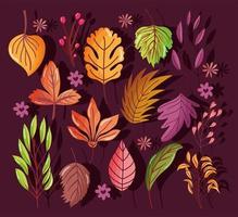 composición de fondo de otoño con hojas
