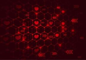 Red love background with light vector