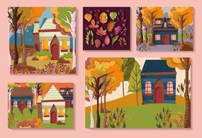 Welcome autumn card set vector