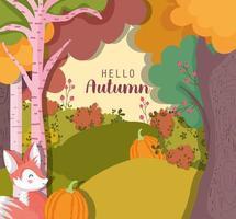 hola cartel de otoño con bosque y animales