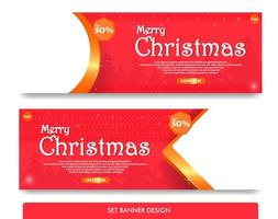 Set banner design for christmas with red and gold color vector