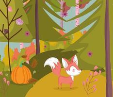 lindo zorro en el cartel del bosque