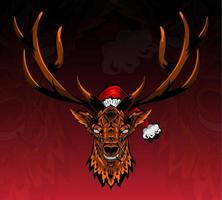 Head of deer with hat christmas character vector