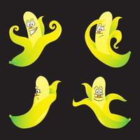 Set banana character with various expression