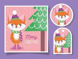 Christmas set with cute fox character