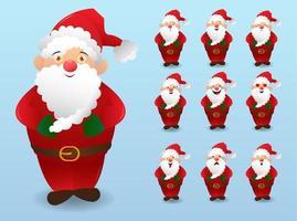 Set santa cartoon character vector