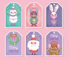 Cute Christmas character tag set vector