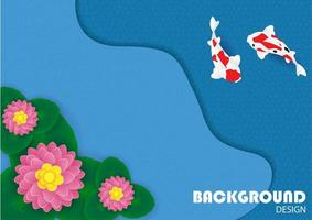 Background with flower and koi fish vector