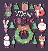 feliz navidad composición con lindos personajes