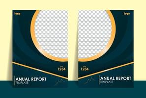 Set annual report with blue and gold vector