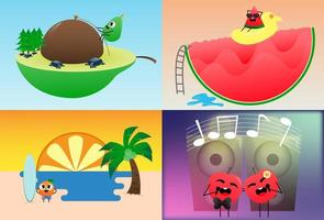 Set fruit poster with various character
