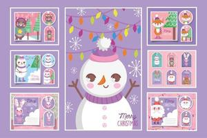 Set of cute Christmas cards with characters vector