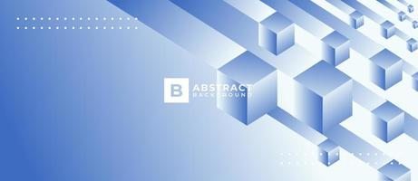 Geometric 3D Box Shape Blue Gradient Background