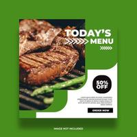 banner de comida de restaurante verde vector