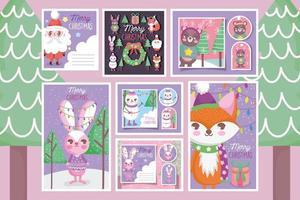 lindo conjunto de etiquetas de personajes navideños
