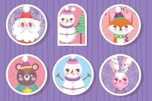 Cute Christmas character tag set vector