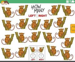Counting left and right pictures of cartoon tarsier animal vector