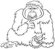 orangután, mono, animal salvaje, caricatura, libro colorear, página