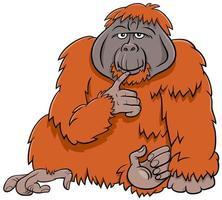 Ilustración de dibujos animados de animales salvajes de mono orangután