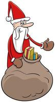 Santa Claus Christmas character with sack of presents vector