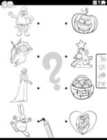 Match holiday characters and symbols coloring book page vector