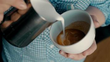 Barista Making Coffee With Latte Art. video