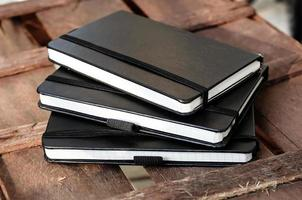 notepads on brown wood table