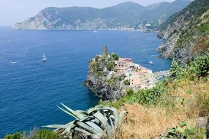 Scenic view of colorful village Vernazza and ocean coast