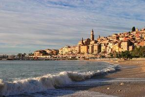 Menton - Panoramic view of the old town and beach