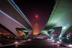 Beautifully lit bridge at night, Valencia, Spain