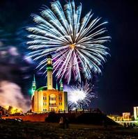 Fireworks in the city photo