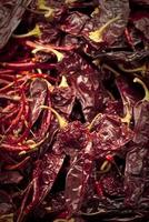 Close up of red dried chili peppers photo