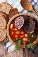 Delicious soup with black pudding Fabada asturiana vertical top