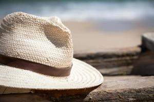 Hat on the boat on the beach