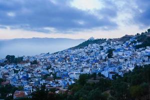 Panoramic view of blue city Chefchaouen