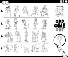 Odd one out holiday characters coloring book page vector