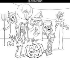 Halloween vacaciones dibujos animados divertidos personajes página de libro para colorear