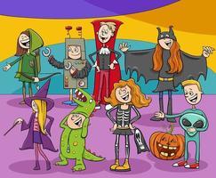 grupo de personajes de dibujos animados en la fiesta de halloween vector