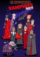 diseño de cartel de dibujos animados de vacaciones de halloween con vampiros vector
