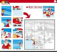 Jigsaw puzzle game with comic Christmas characters vector