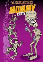 diseño de cartel de dibujos animados de vacaciones de halloween con momias vector