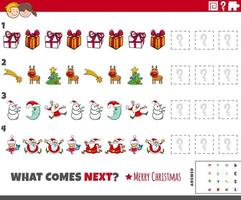 Pattern task for kids with cartoon Christmas characters vector