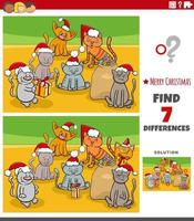 Differences educational task for kids with kittens vector