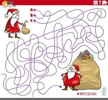 Educational maze game with cartoon Santa Claus characters vector