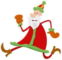 Running Santa Claus cartoon character on Christmas time vector