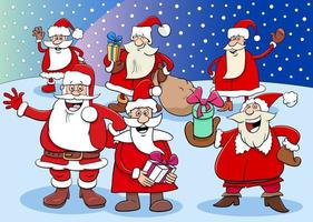 Santa Claus characters group on Christmas time vector