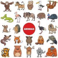 dibujos animados animales salvajes personajes gran conjunto
