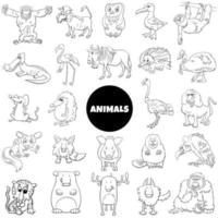 Black and white cartoon wild animals characters set vector