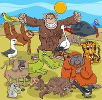 Grupo de personajes de cómic de animales salvajes de dibujos animados vector